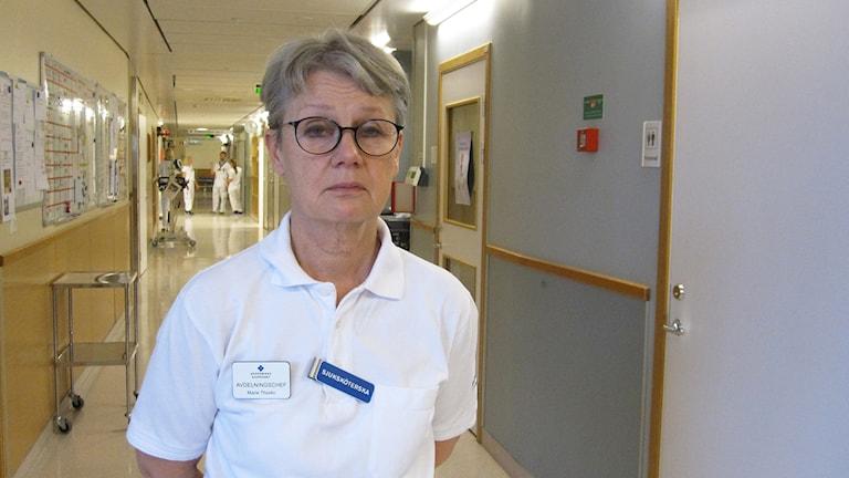Marie Thorén, avdelningschef för Centrala intensivvårdsavdelningen på Akademiska sjukhuset.