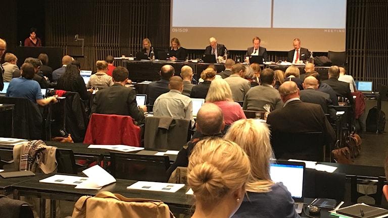 Kommunfullmäktige när budgeten debatterades i dag.