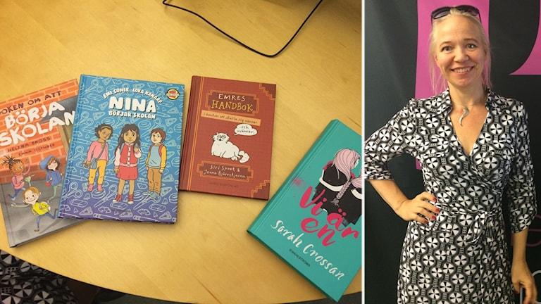 Eija Schüssler med böckerna hon tipsar om