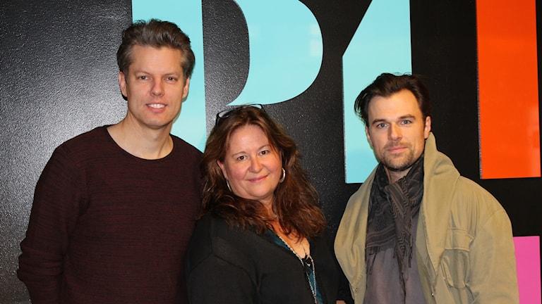Niclas Dahl, kompositör till Rockatorium, Ulrika Björk, Ungdomsdiakon som bland annat jobbat med kostymerna och Jonas Wåhlin, sångare.