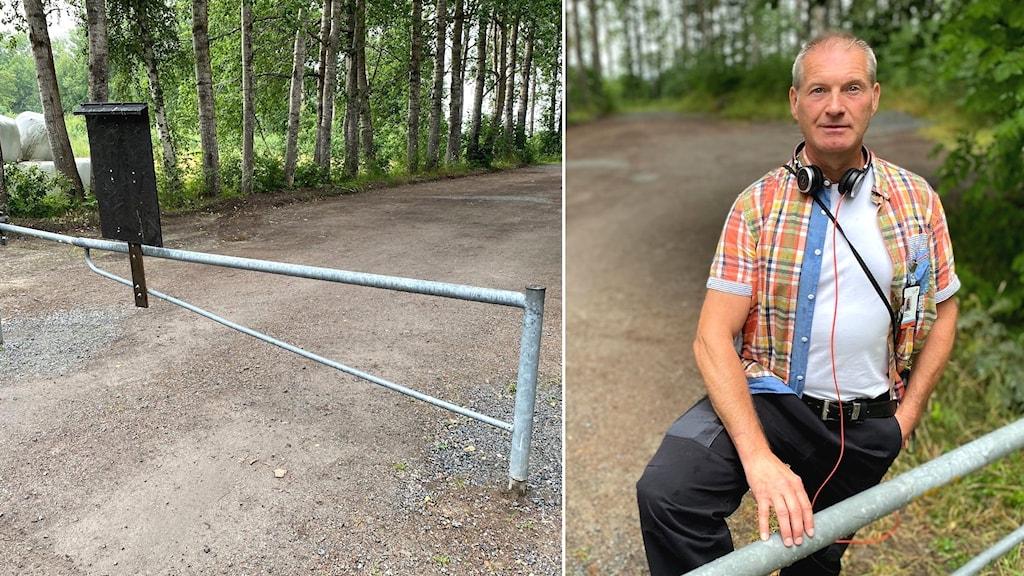 Bildmontage. Till vänster syns en vägbom över en grusväg. I bakgrunden syns träd vid vägkanten. Till höger en man framför vägbommen. Han har en rutig skjorta och hörlurar hängandes runt halsen.