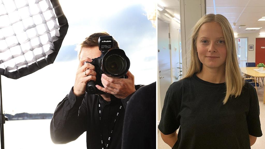 Fotograf med kamera framför ansiktet fotar elev.