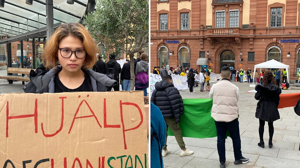 En person på vänster bild som håller i ett plakat, manifestation på höger bild.