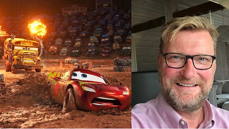 Blixten McQueen i Bilar och Janne Blomqvist som rösten till en journalist och en banspeaker i filmen.