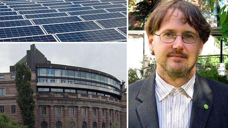 Niclas Malmberg vill sätta solceller på riksdagens tak.