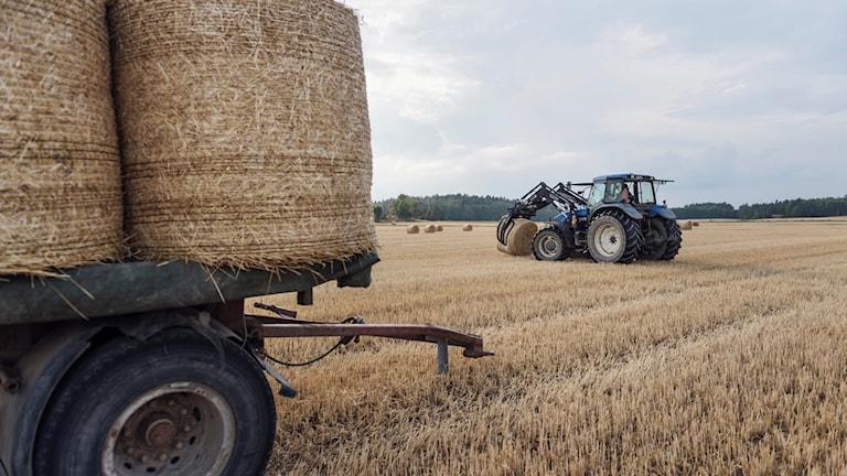 En traktor på en åker. Genrebild.