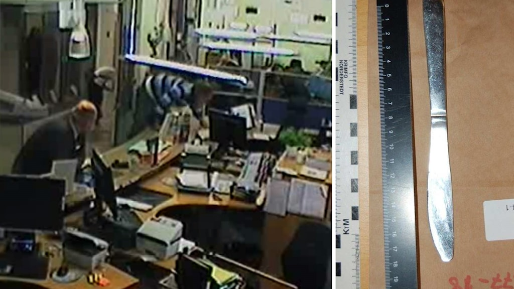 Bild från övervakningskamera och den beslagtagna bordskniven, ur polisundersökningen.