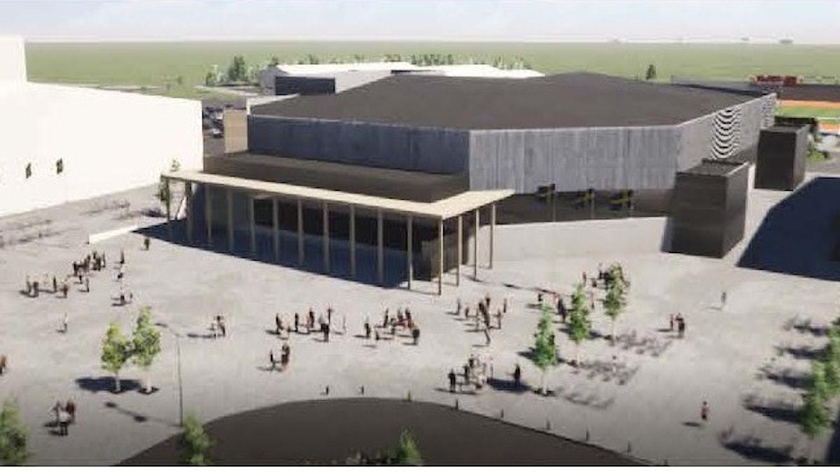 En animering av den nya arenan på Gränby sportfält.