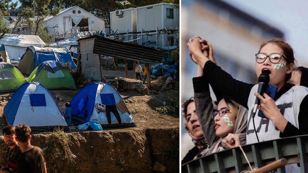 Evakuerade flyktingar till vänster i bild och Zahra Hosseini till höger.