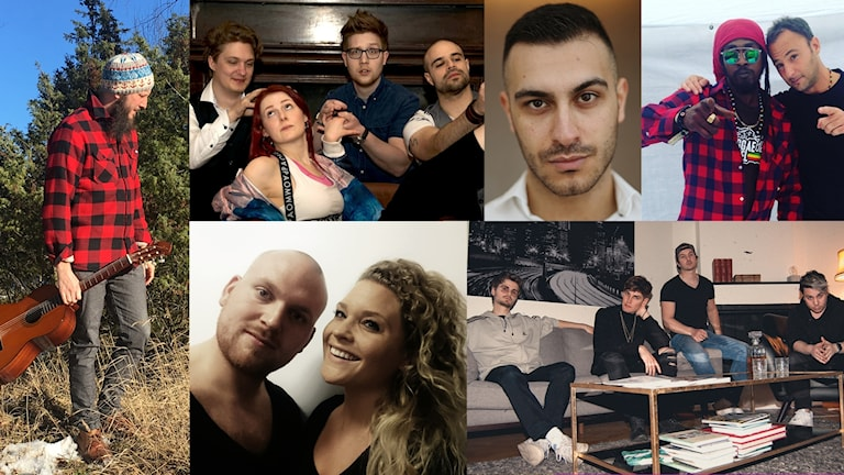 Alla finalisterna i P4 Nästa Uppland: Rawa & Wavedogs, Dead Fox Dancin, LiRic, Carl JC Nyström,Beside The Bridge.