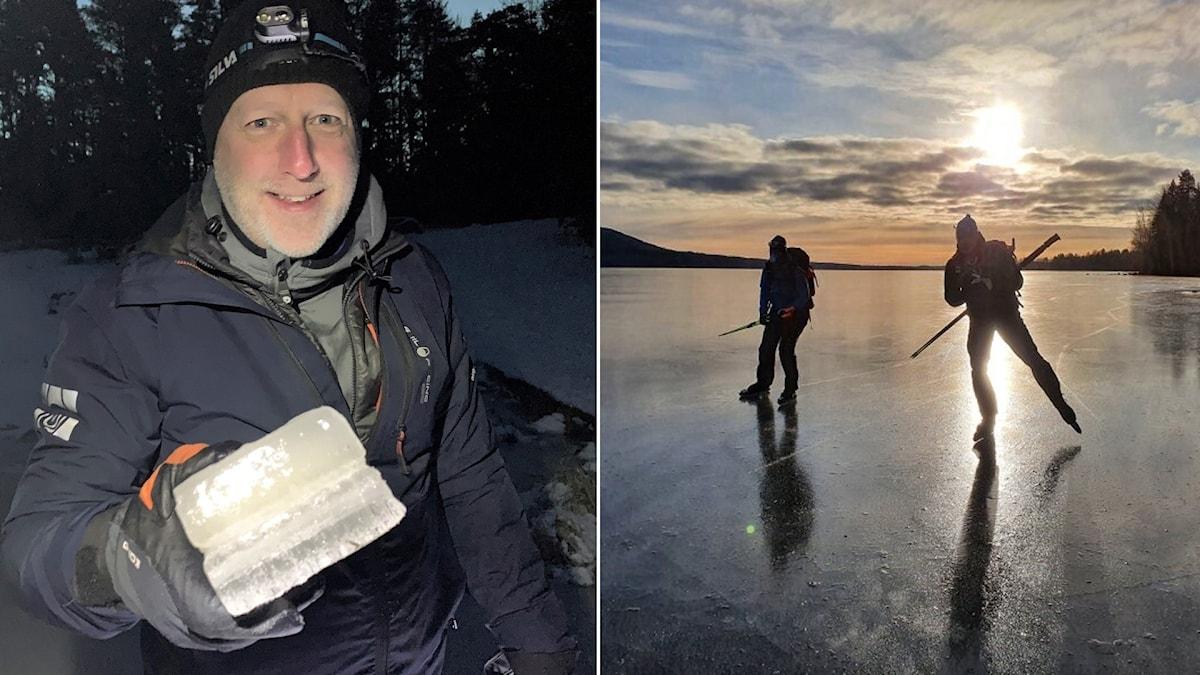 Till vänster en man som håller i ett isblock. Till höger två personer som åker skridskor.