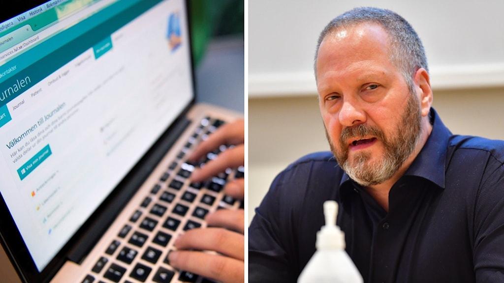 En dator som har Journaler på skärmen på vänster bild, en person som är på en pressträff på höger bild.