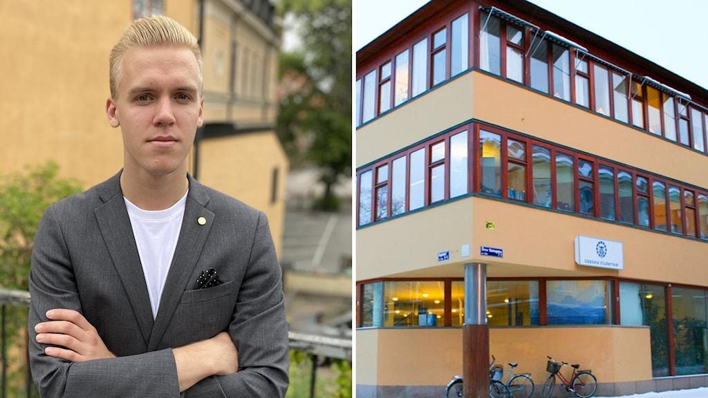 """En man med blont hår till vänster, till höger ett orange hus med texten """"Uppsala studentkår""""."""