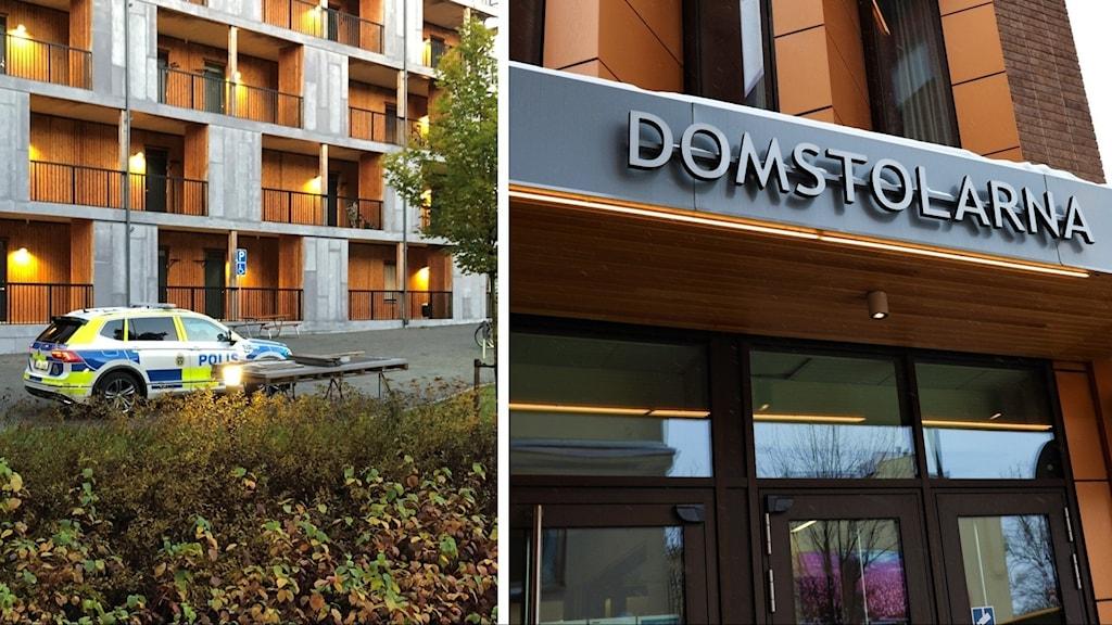 En delad bild med ett lägenhetshus i knivsta och en polisbil, respektive Uppsala tingsrätt.