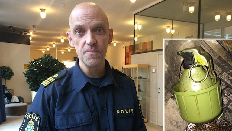 Jale Poljarevius, infällt handgranaten som hittades. Foto: Sveriges Radio och Polisen.