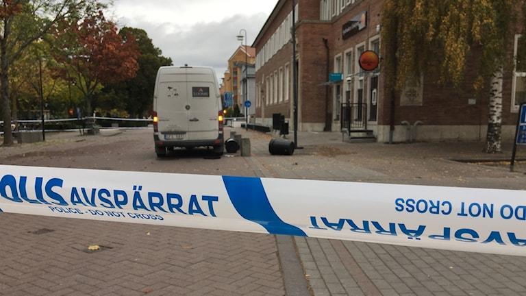 Rånförsök mot värdetransport i Enköping. Foto: Mattias Pleijel/SR
