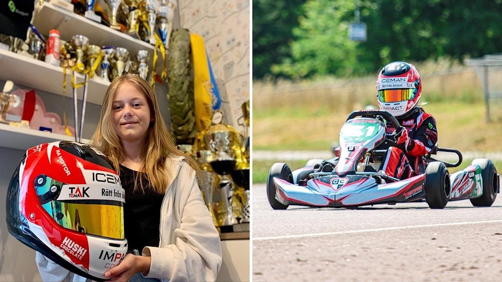 Till vänster står Alexia i ett rum med troféer, till höger sitter hon i sin kartingbil.