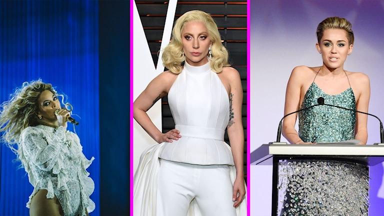 Beyonce, Lady Gaga och Miley Cyrus stöttar Hillary Clinton..
