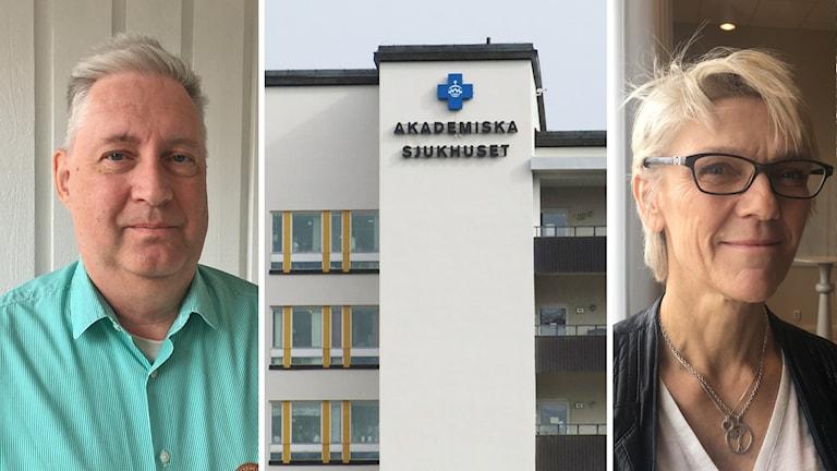 Knut Bodin, läkarfackets huvudskyddsombud och Marianne Van Rooijen, sjukhuschef