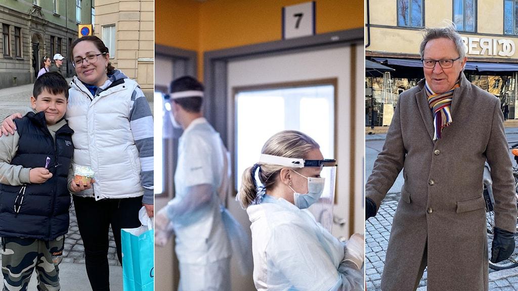 Kollage med foton på intervjupersonerna, och en genrebild på vårdpersonal på ett sjukhus.