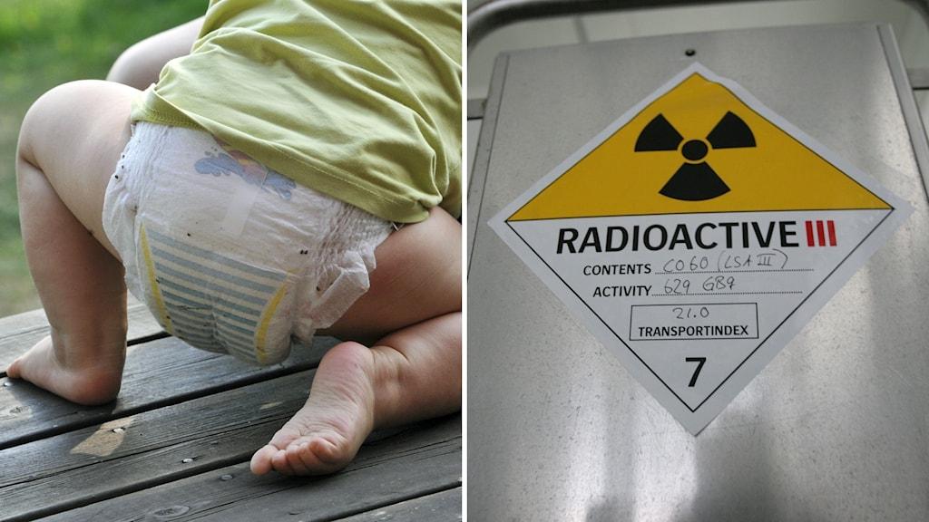 Litet barn iklädd blöja och tröja kryper på en altan. Till höger en skylt som varnar för radionaktivitet.