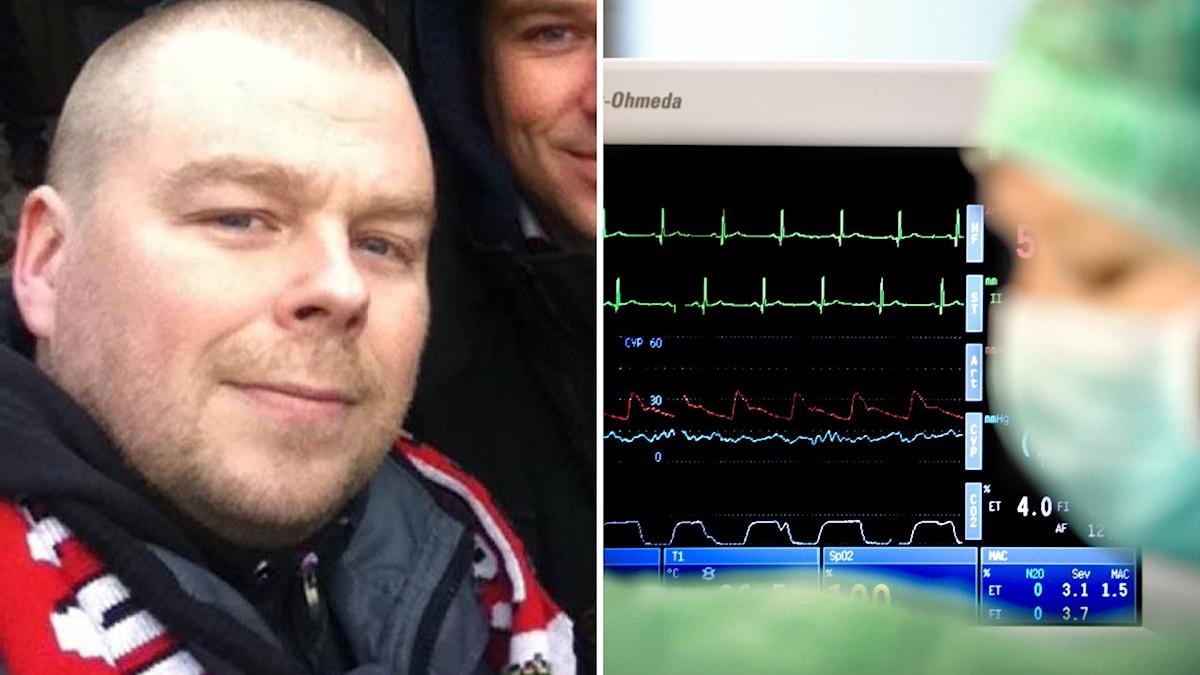Daniel Ålin i bild till vänster i kollaget och till höger ser man en EKG-mätare som är i en sjukhusmiljö.