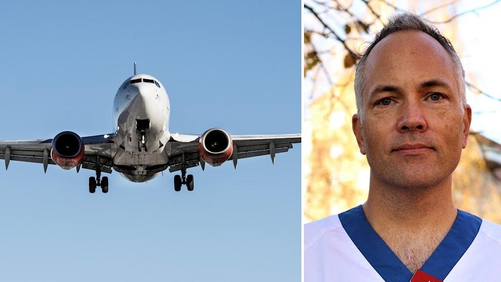 Till vänster: ett flygplan uppe i luften. Till höger Mats Martinell.