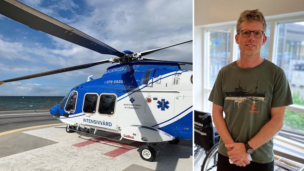 Till vänster ett foto på helikoptern på marken och till höger Daniel i en sjukhuskorridor.