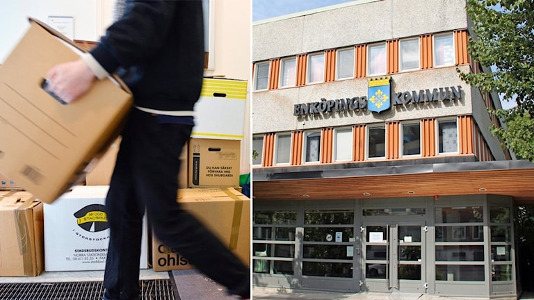Man bär en flyttlåda och en husfasad där det står Enköpings kommun.
