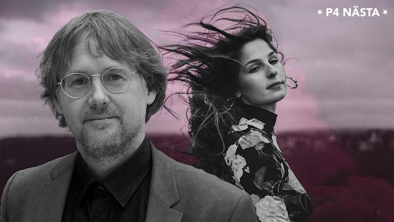 En man och en kvinna i svartvitt, kvinnans hår blåser väldigt mycket.