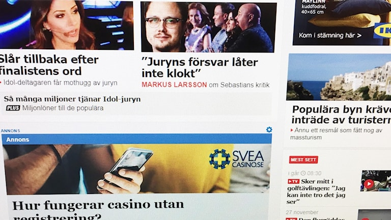 Aftonbladets förstasida på webben.