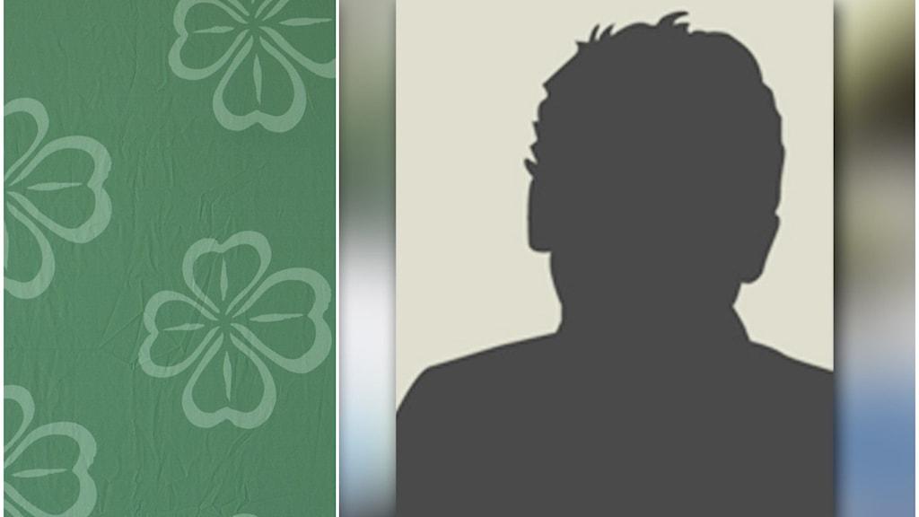 Till vänster: Centerpartiets logga. Till höger: en siluett av en person.