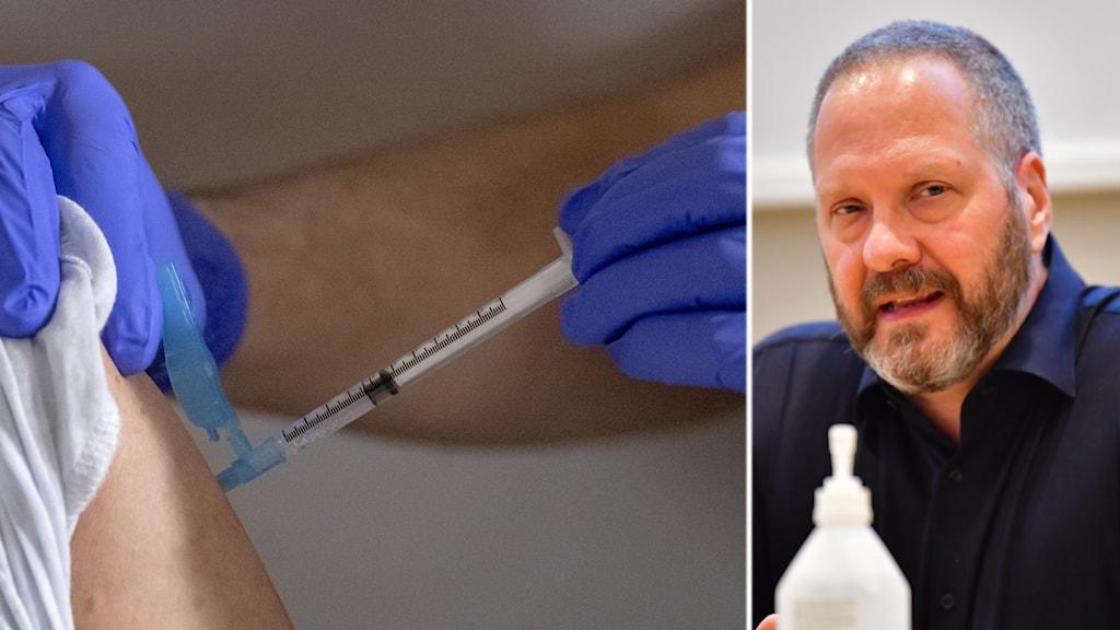 montage på vaccinspruta och överläkare