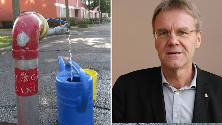 Landshövdingen Göran Enander bredvid en bild på en tillfällig vattenpump i Uppsala.