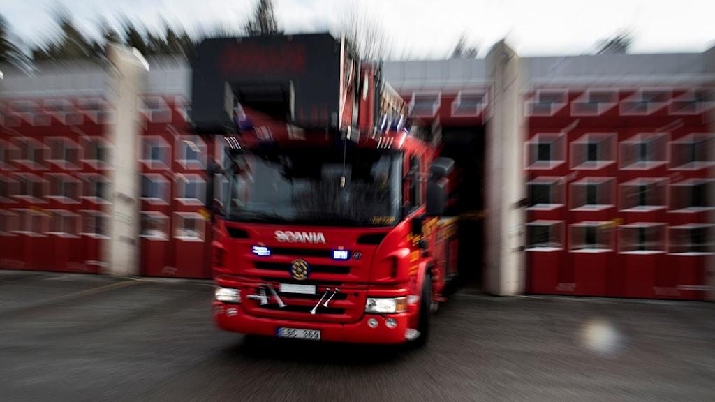 Brandbil på utryckning. Foto: Pontus Lundahl/TT