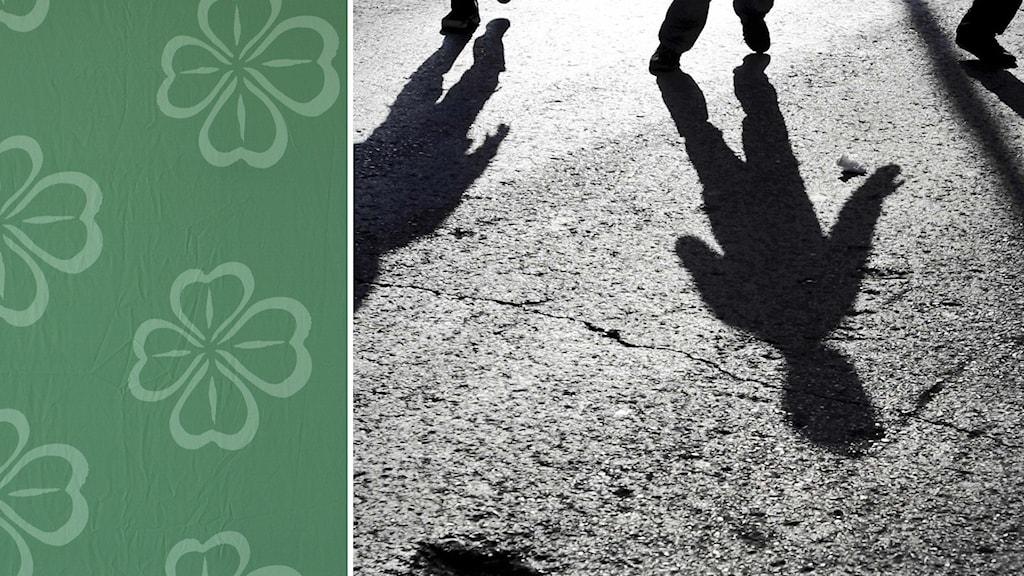 Centerpartiets logga och skuggor från barn som går på en väg
