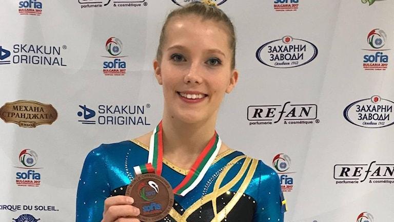 Linda Sjöberg tog brons i DMT under världsmästerskapet i Sofia i Bulgarien under helgen.