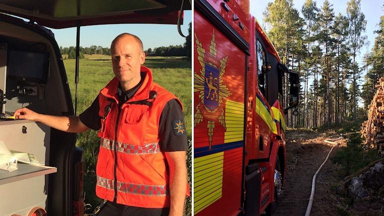 På bildens vänstra sida står en man med snaggat hår och en reflexväst. På bildens högra sida syns en brandbil och bakom den några träd.