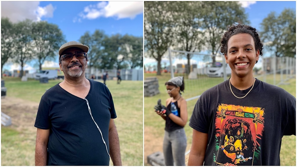Bildmontage. Till vänster syns en man med svart t-shirt, keps och solglasögon. Till höger en ung man med Uppsala reggaefestivaltröja. I bakgrunden syns människor som bygger scen.