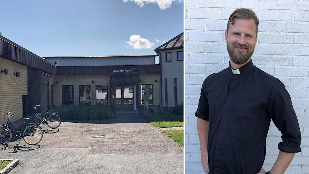 Till vänster en bild på en kyrka och till höger en man i prästkrage.