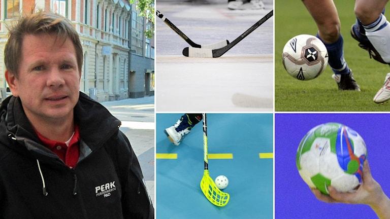 Jonas Värm, idrottskonsulent vid Upplands idrottsförbund, bild på innebandyboll, handboll, hockeyklubbor och fotboll.