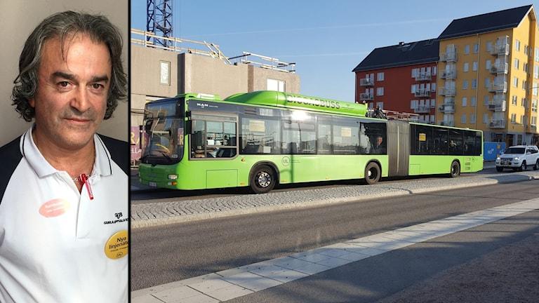 Jafar Sarehkhani, skyddsombud Gamla Uppsala Buss med linjebuss på Råbyvägen.