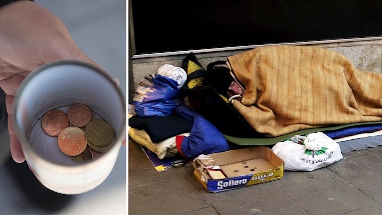 Mynt i en konservburk och en man som ligger på gatan med en filt över sig.