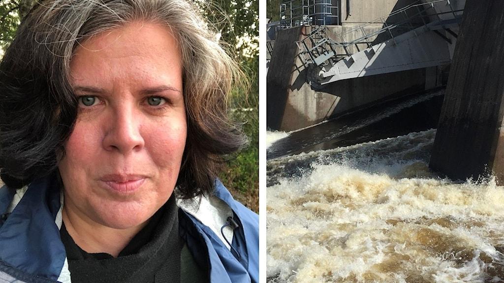 Till vänster en bild på Yvonne Ruwaida, projektledare på Vattenfall Eldistribution, till höger en bild på Älvkarlebys vattenkraftdamm.