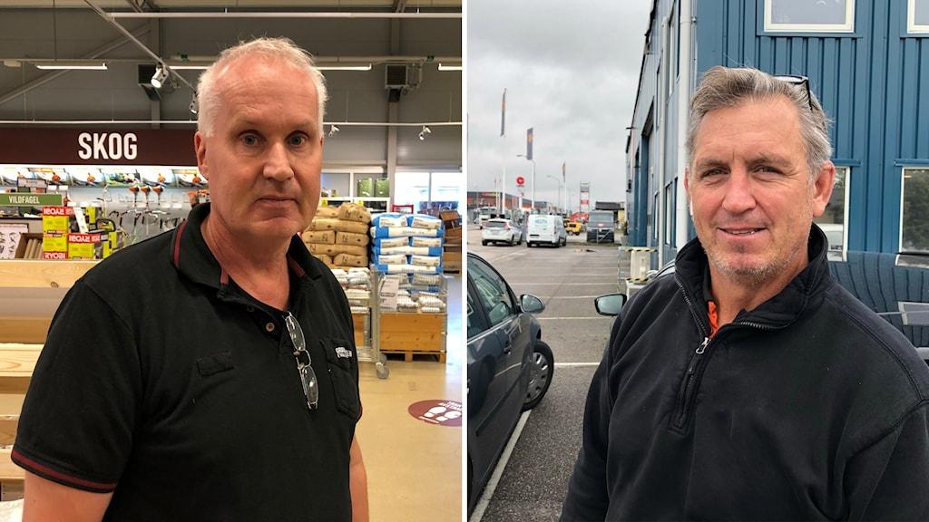 Till vänster en man, Bengt, som står i en butik och till höger en annan man, Bill, som står utomhus.