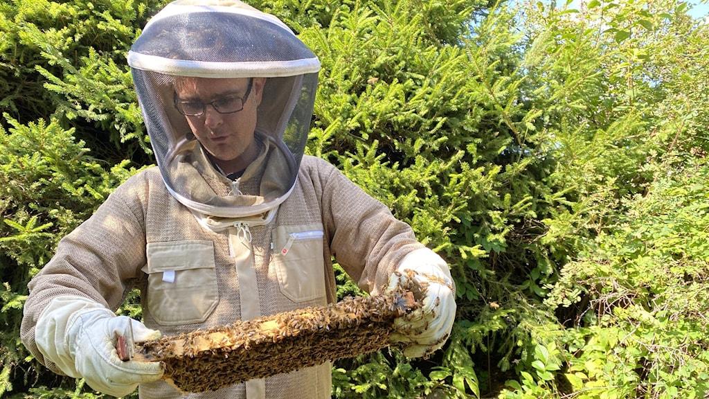 Mårten Markne visar upp bin.