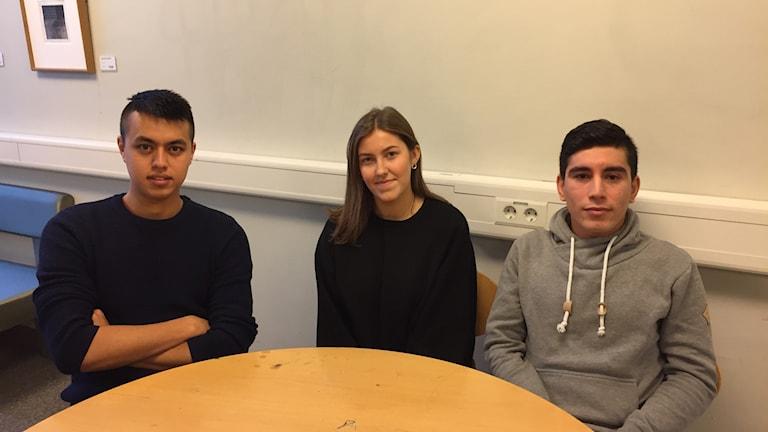 Mohammed Mirzai, Johanna Wigström, Fazel Hemmatyar på Celsiusskolan