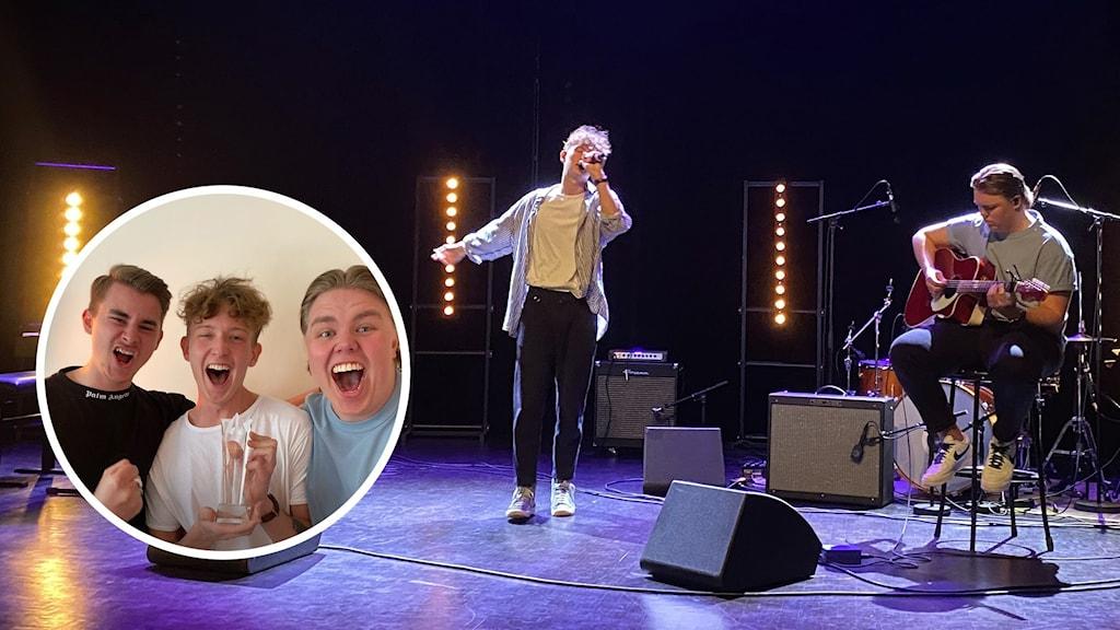 Elias Öberg sjunger på en scen, bredvid sitter Nils Norberg och spelar gitarr. Till vänster en bild på Elias, Nils och John Haage som jublar med sin trofé i handen.