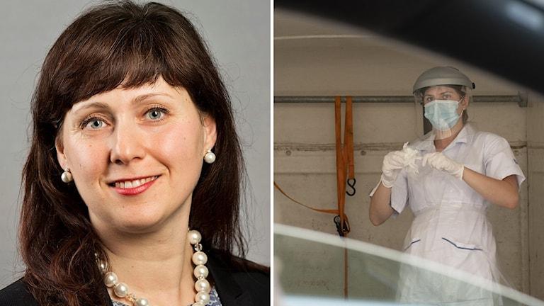 Mörkhörig kvinna, Vivianne Macdisi, ler. Till höger en sjuksköterska i full skyddsutrustning som torkar av något.
