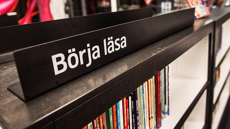 Hylla med böcker på bibliotek.